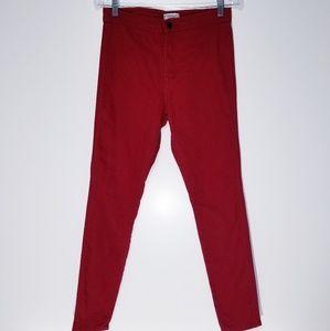 Red high waist skinny jeans 28